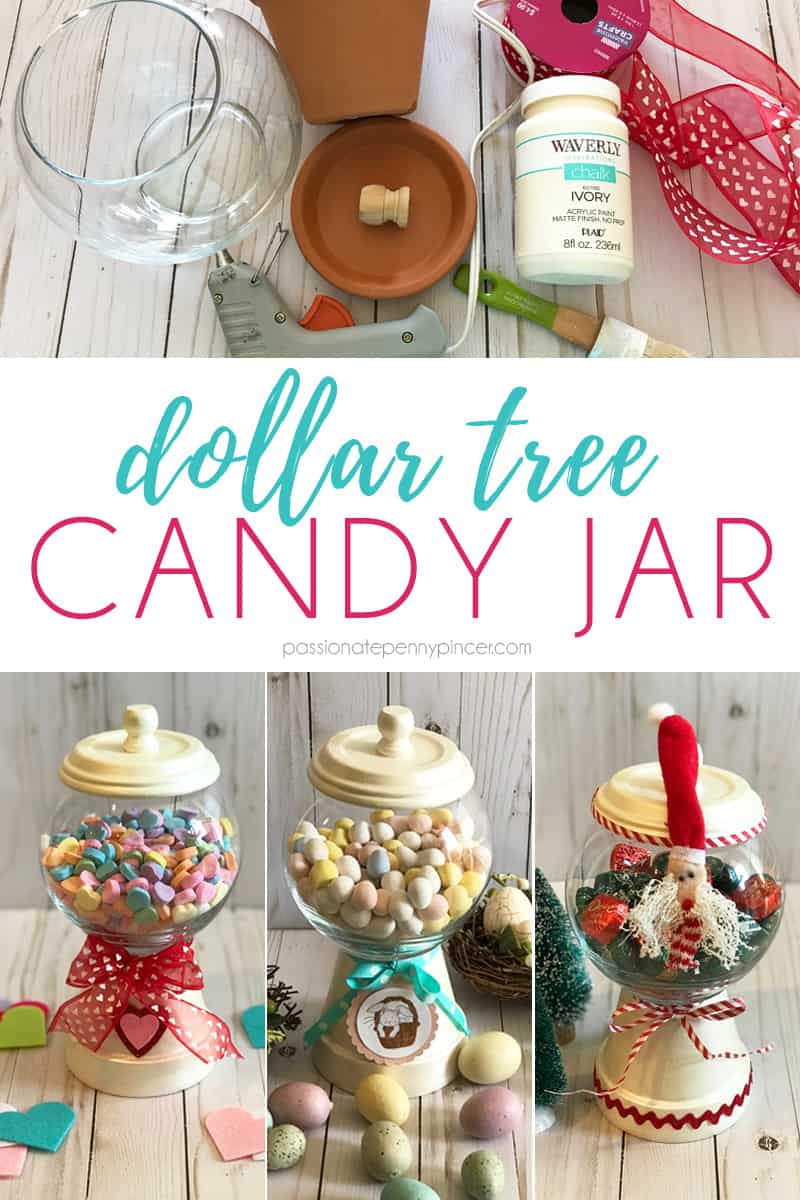 Looking for a great Dollar Tree DIY? Look no further than this great candy jar! You can even change it out to match the holiday! Perfect for Valentine's Day, Easter and Christmas!!