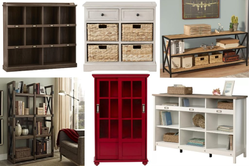 Check out these farmhouse style bookcases for some pretty and functional ways to store your clutter!