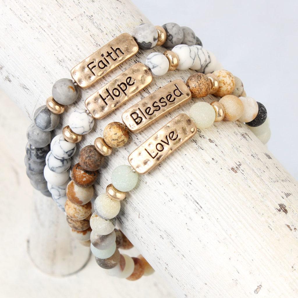 Natural Stone Message Bracelets Just 4 99