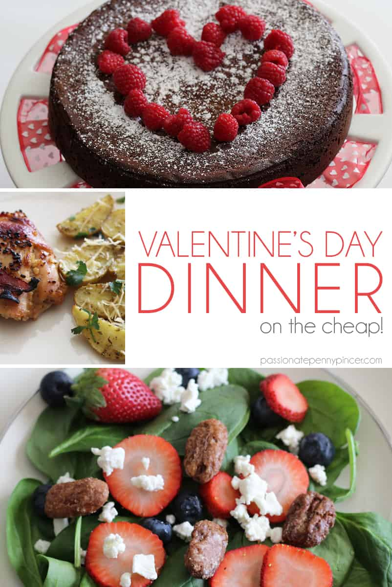 Here's everything you need to have the pefect Valentine's Day Dinner - on the cheap!! Complete with grocery list, recipes and menu cards!!