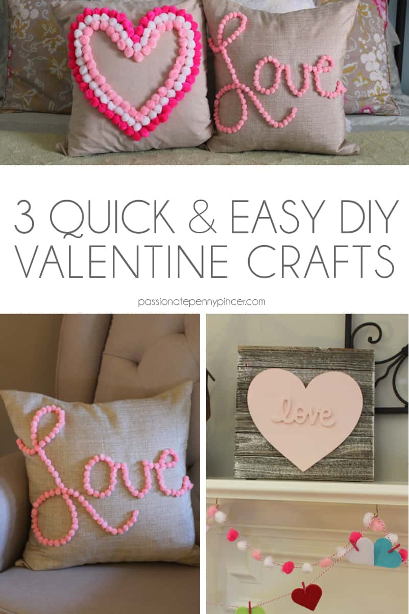 These 3 quick and easy Valentine crafts will help fluff up any room for the holiday!