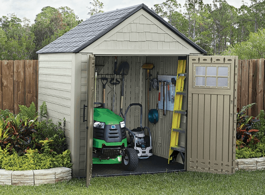 lid feet low shed cubic sheds resource outdoor slide storage rubbermaid itm profile