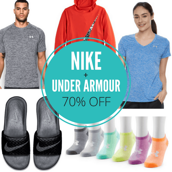 """d09526732d9e5 There are a bunch of Nike and Under Armour deals I don t want you to miss  today ~ up to 70% off! While you can t use """"% off"""" discount codes on these  brands"""