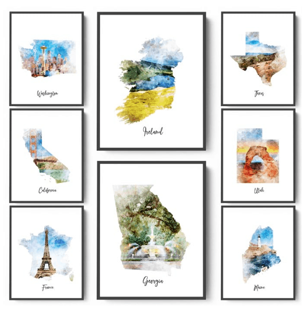 watercolor map prints 4 19 7 sizes available passionate penny