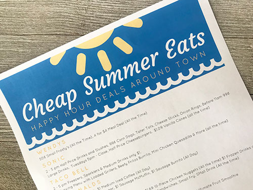 DOWNLOAD your Cheap Summer Eats printable NOW!