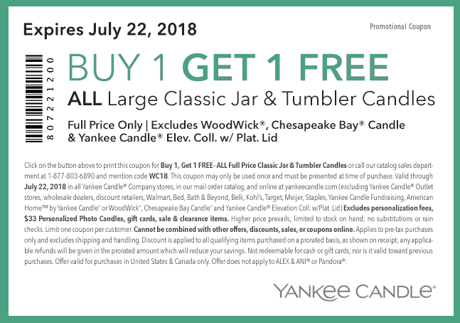 Buy One Get One Free Yankee Candle Coupon | Passionate ...