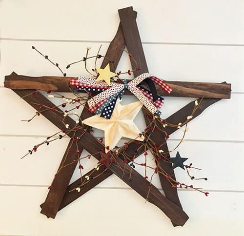 Patriotic Star Wreath for July 4th