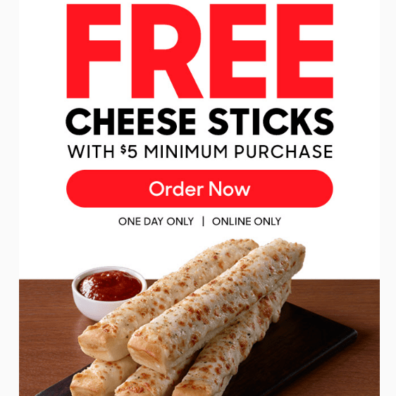 hut rewards free cheese sticks