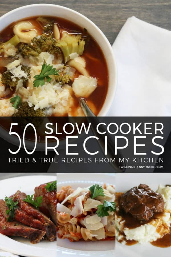 Find 50+ crock pot recipes that are tried and true from my kitchen! These recipes work great for any meal including slow cooker party recipes, soups, cake, holidays, and more!