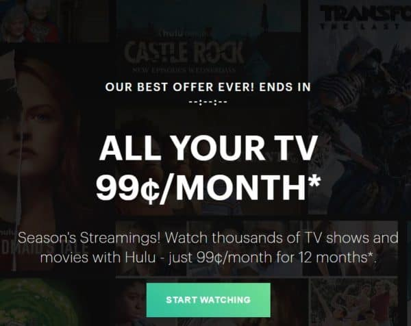 Hulu Black Friday Offer only 99¢/Month!