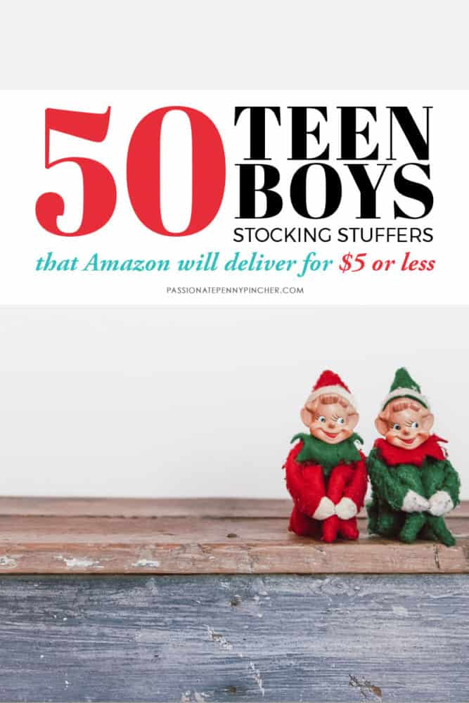 Huge list of stocking stuffer ideas for teen boys. All items are priced $5 or below! Check out all of our Stocking Stuffers lists to finish Christmas shopping!
