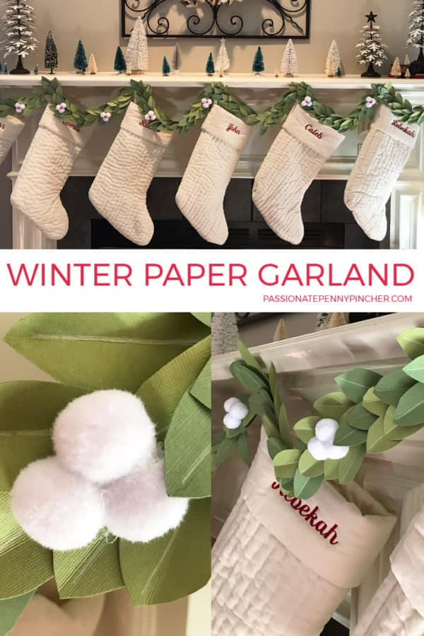 Looking for an inexpensive way to decorate your mantle this season? Look no futher, this Winter Paper Garland is just beautiful and SO easy!!