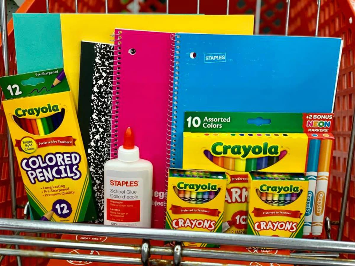 school supplies in cart