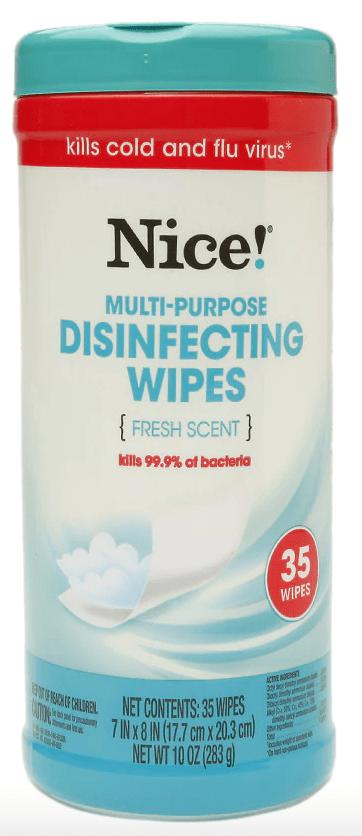 walgreens brand disinfecting wipes (nice brand)