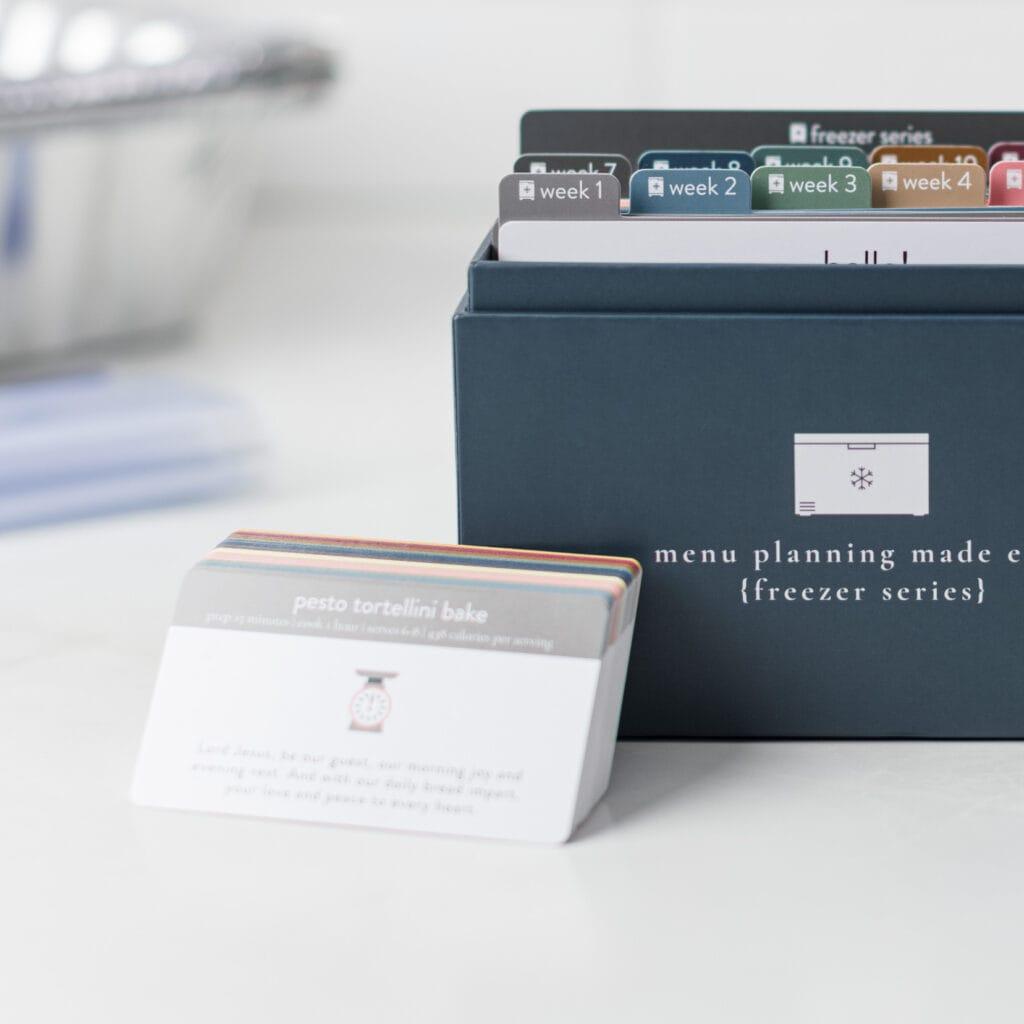 2021 Freezer Menu Plan Close up with baby cards