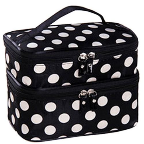 Cosmetic Bag, Black with White Polka Dot