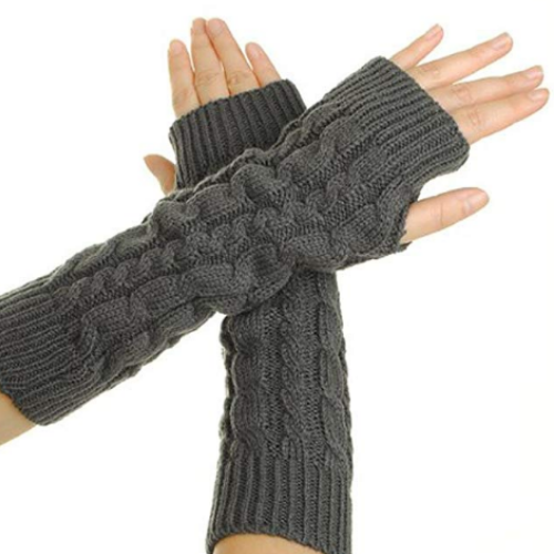 Long Fingerless Gloves with Thumb Holes